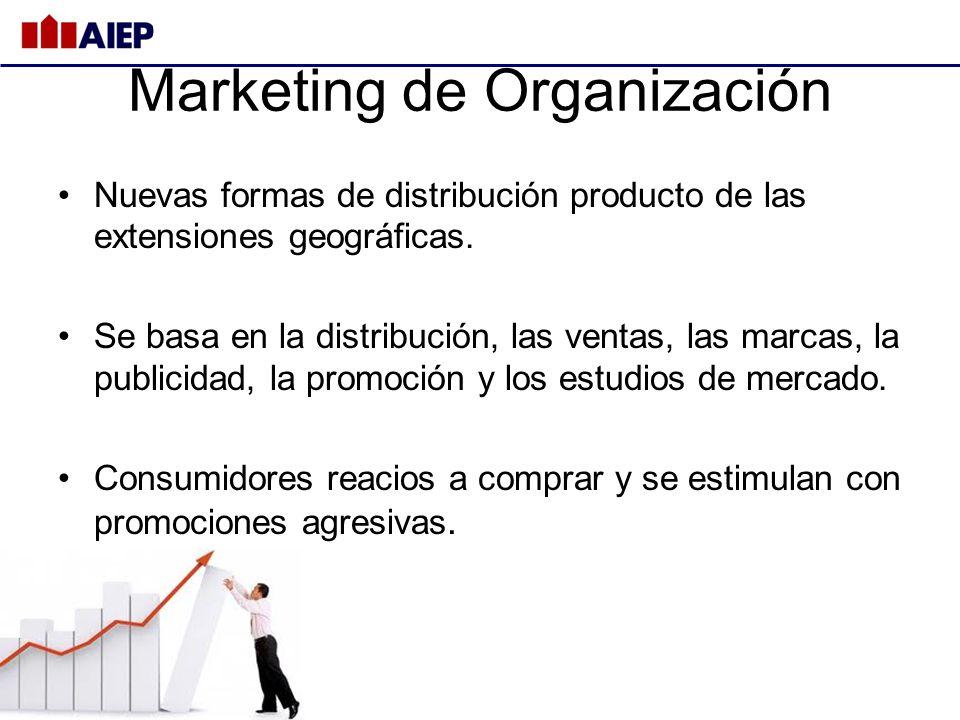Marketing de Organización Nuevas formas de distribución producto de las extensiones geográficas. Se basa en la distribución, las ventas, las marcas, l