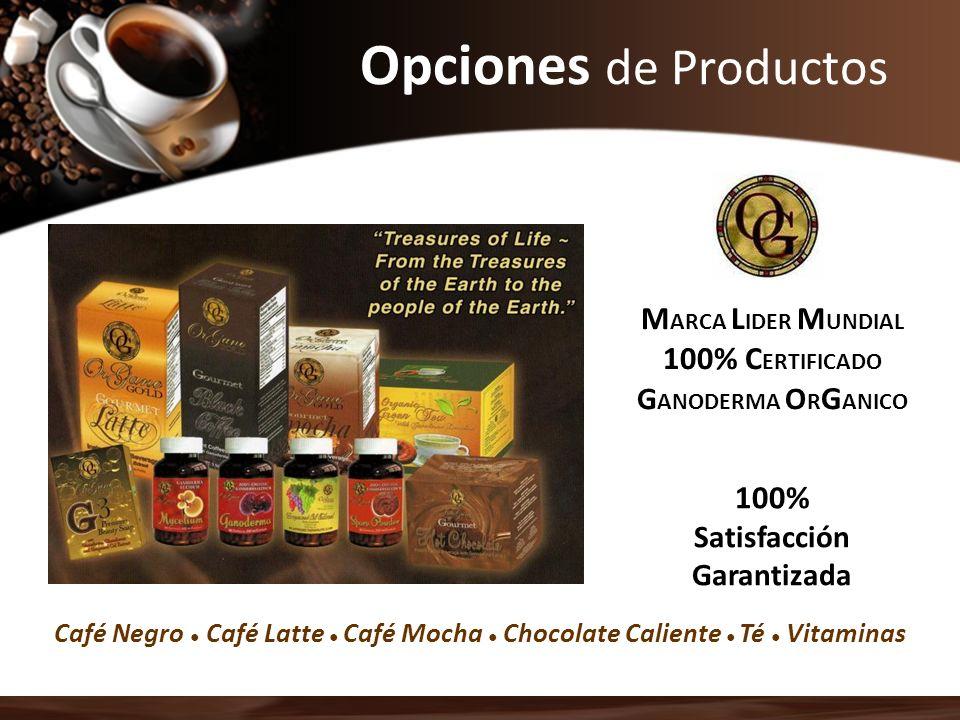 Opciones de Productos M ARCA L IDER M UNDIAL 100% C ERTIFICADO G ANODERMA O R G ANICO 100% Satisfacción Garantizada Café Negro Café Latte Café Mocha C