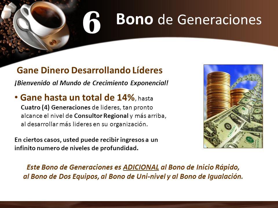Bono de Generaciones Gane Dinero Desarrollando Líderes ¡ Bienvenido al Mundo de Crecimiento Exponencial! Gane hasta un total de 14%, hasta Cuatro (4)
