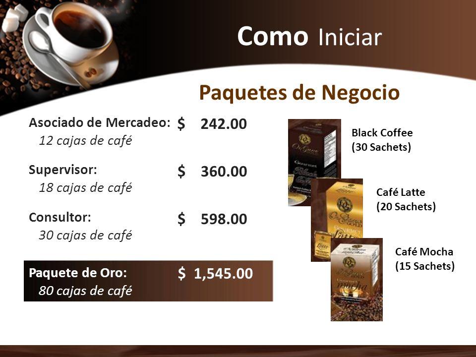 Como Iniciar Asociado de Mercadeo: 12 cajas de café Supervisor: 18 cajas de café Consultor: 30 cajas de café Paquete de Oro: 80 cajas de café Paquetes