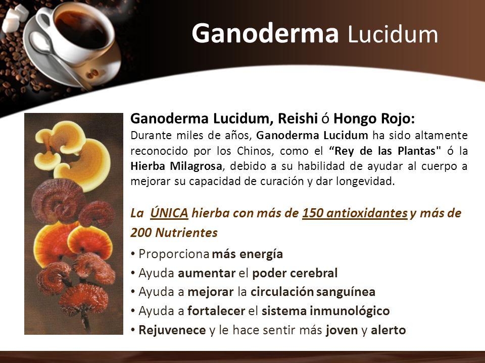 Ganoderma Lucidum Ganoderma Lucidum, Reishi ó Hongo Rojo: Durante miles de años, Ganoderma Lucidum ha sido altamente reconocido por los Chinos, como e