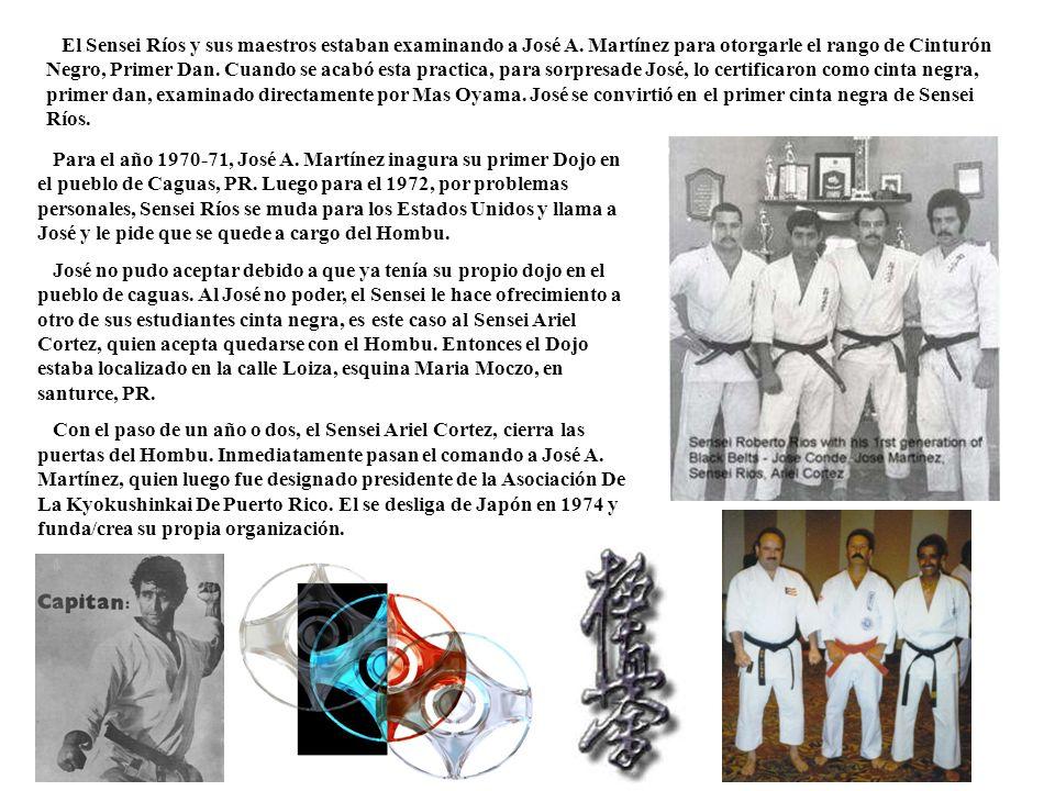 El Sensei Ríos y sus maestros estaban examinando a José A. Martínez para otorgarle el rango de Cinturón Negro, Primer Dan. Cuando se acabó esta practi