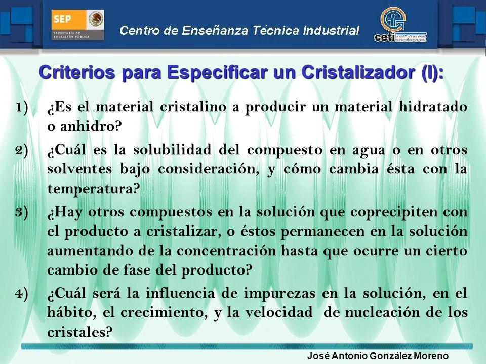 Criterios para Especificar un Cristalizador (I): 1)¿Es el material cristalino a producir un material hidratado o anhidro? 2)¿Cuál es la solubilidad de