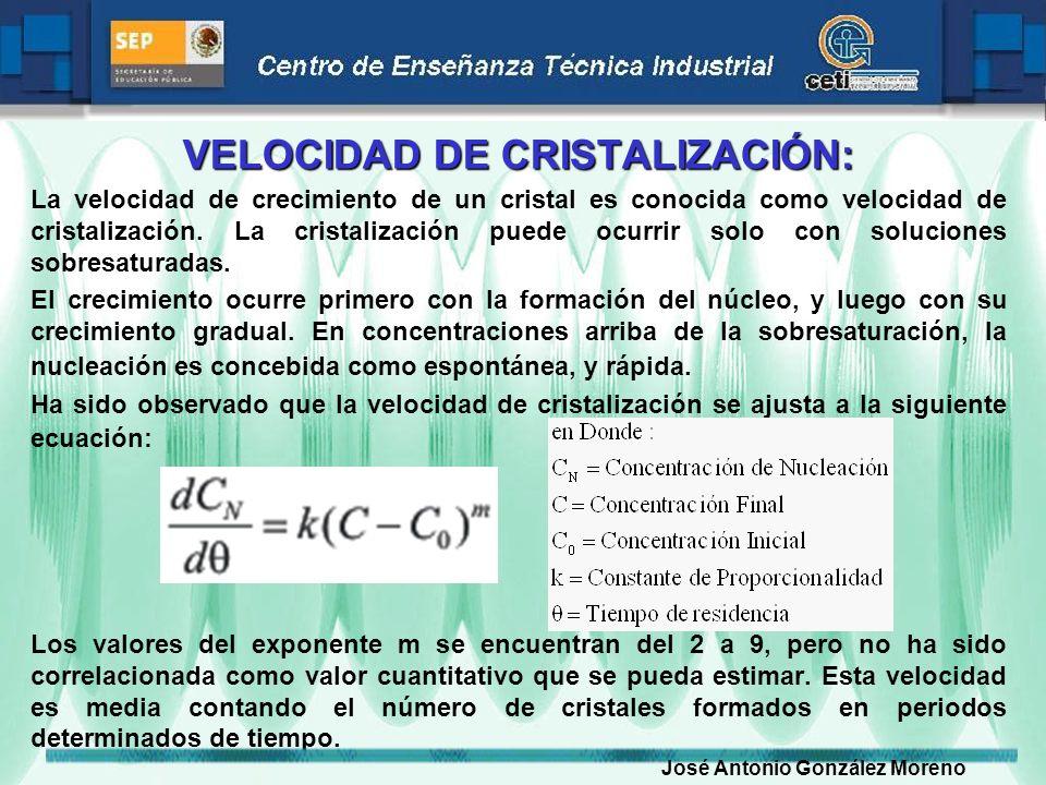 VELOCIDAD DE CRISTALIZACIÓN: La velocidad de crecimiento de un cristal es conocida como velocidad de cristalización. La cristalización puede ocurrir s