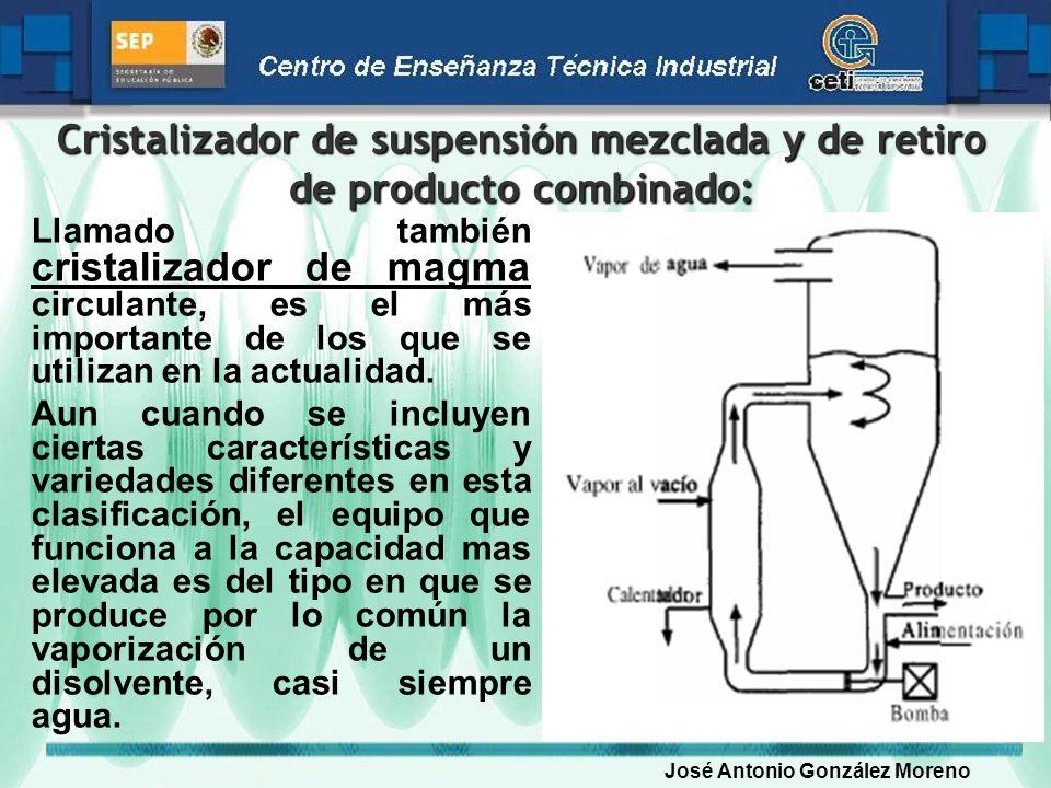 Cristalizador de suspensión mezclada y de retiro de producto combinado: cristalizador de magma Llamado también cristalizador de magma circulante, es e