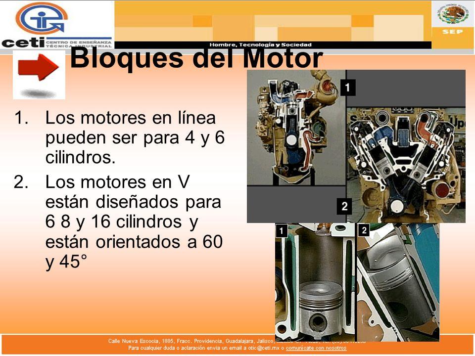 Bloques del Motor 1.Los motores en línea pueden ser para 4 y 6 cilindros. 2.Los motores en V están diseñados para 6 8 y 16 cilindros y están orientado
