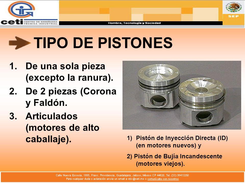 TIPO DE PISTONES 1.De una sola pieza (excepto la ranura). 2.De 2 piezas (Corona y Faldón. 3.Articulados (motores de alto caballaje). 1)Pistón de Inyec
