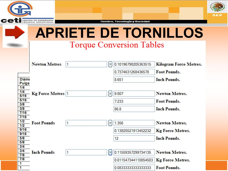 APRIETE DE TORNILLOS
