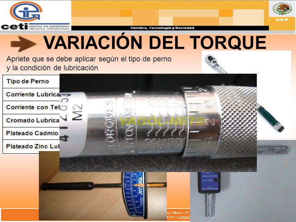 VARIACIÓN DEL TORQUE Apriete que se debe aplicar según el tipo de perno y la condición de lubricación