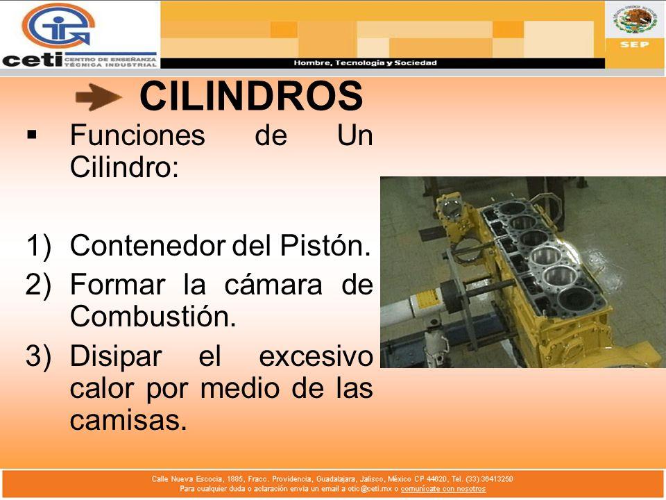CILINDROS Funciones de Un Cilindro: 1)Contenedor del Pistón. 2)Formar la cámara de Combustión. 3)Disipar el excesivo calor por medio de las camisas.