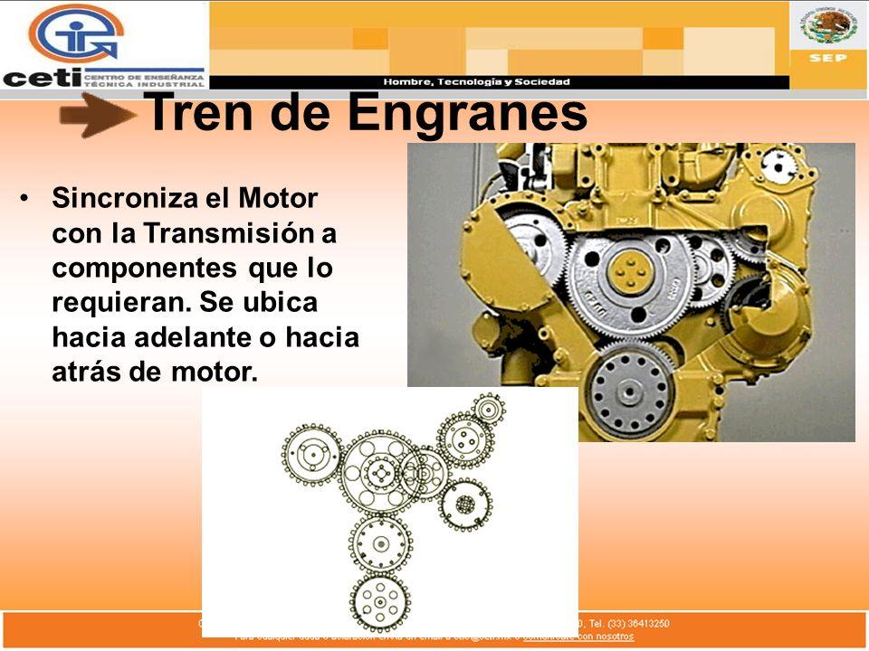 Tren de Engranes Sincroniza el Motor con la Transmisión a componentes que lo requieran. Se ubica hacia adelante o hacia atrás de motor.