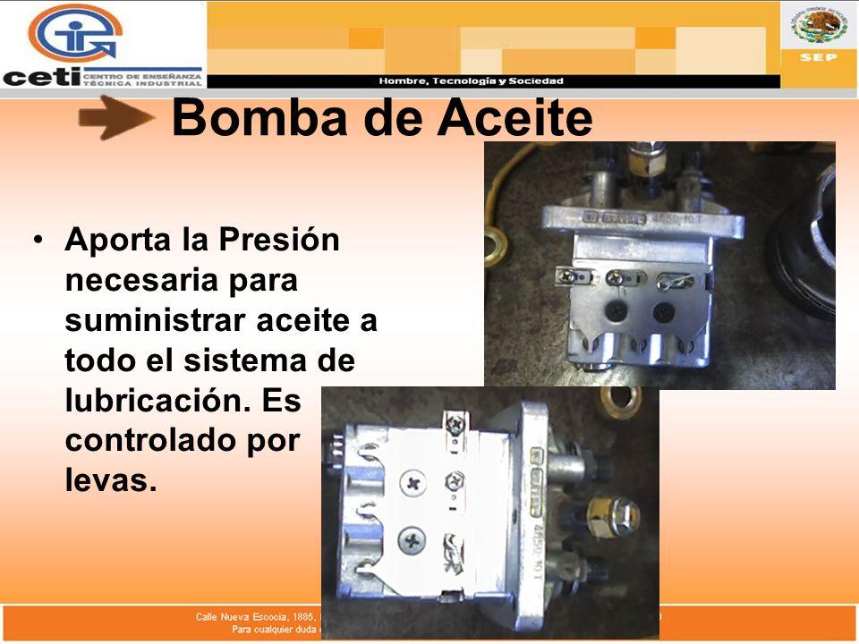 Bomba de Aceite Aporta la Presión necesaria para suministrar aceite a todo el sistema de lubricación. Es controlado por levas.