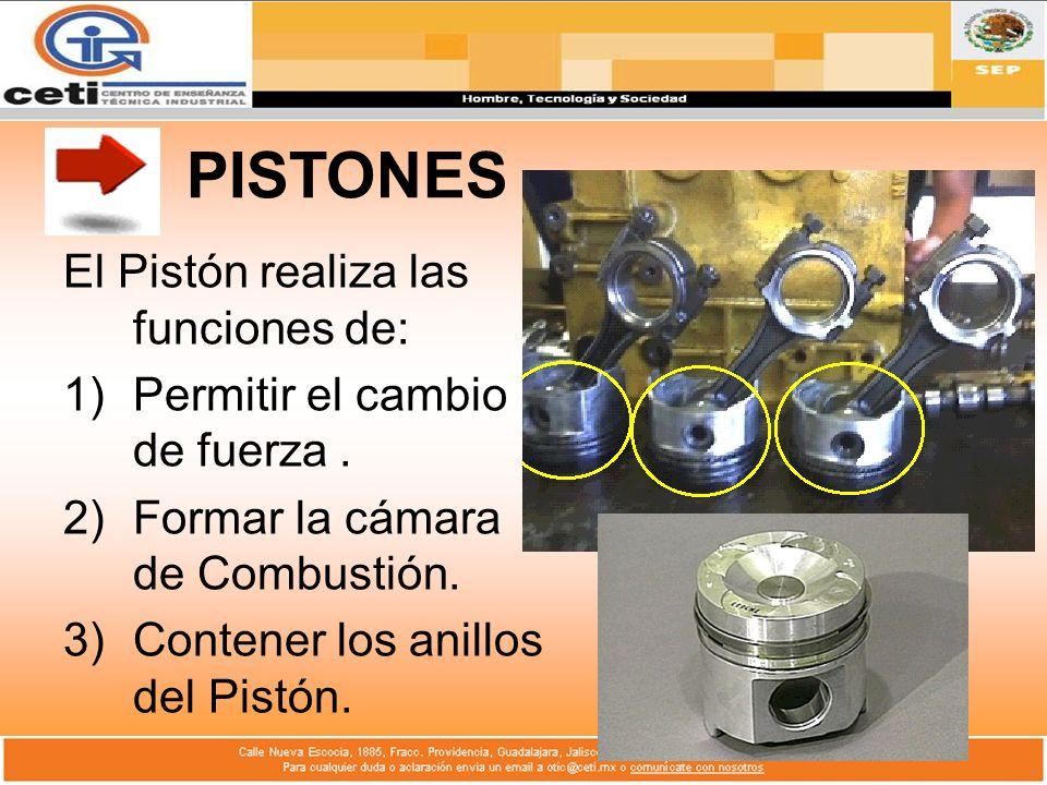 PISTONES El Pistón realiza las funciones de: 1)Permitir el cambio de fuerza. 2)Formar la cámara de Combustión. 3)Contener los anillos del Pistón.