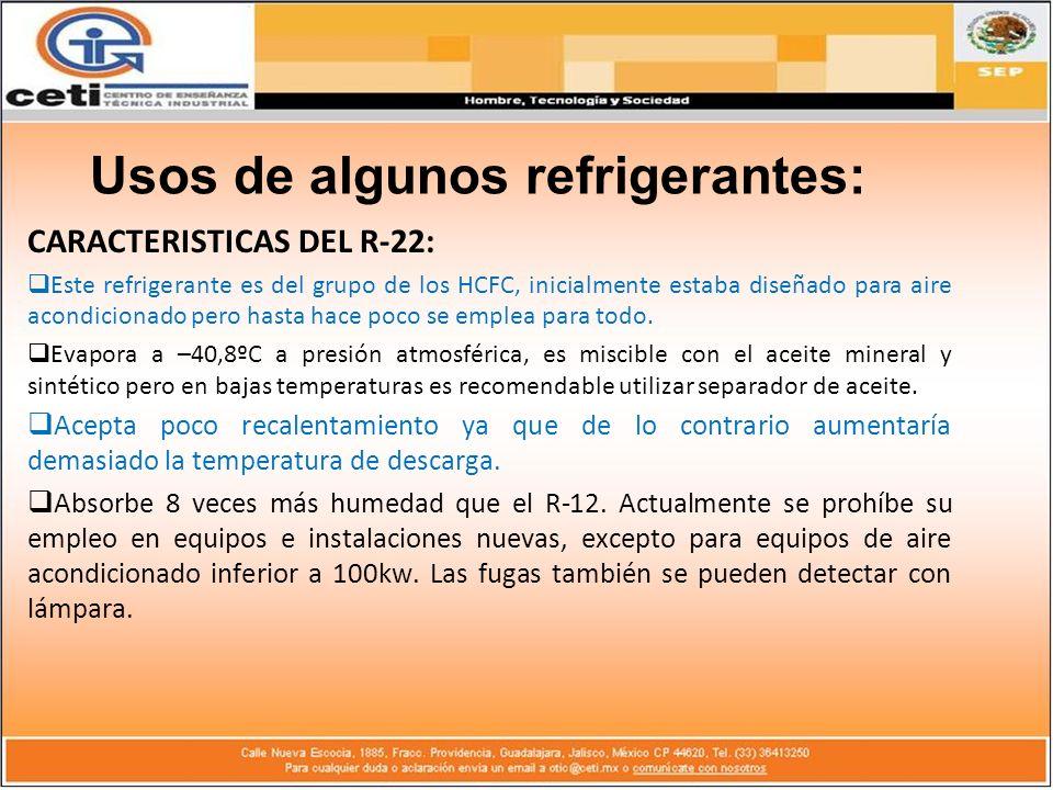 CARACTERISTICAS DEL R-22: Este refrigerante es del grupo de los HCFC, inicialmente estaba diseñado para aire acondicionado pero hasta hace poco se emp