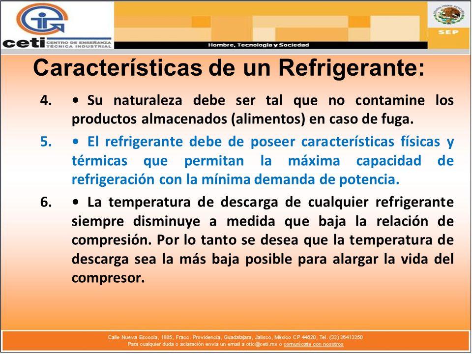 4.Su naturaleza debe ser tal que no contamine los productos almacenados (alimentos) en caso de fuga. 5.El refrigerante debe de poseer características