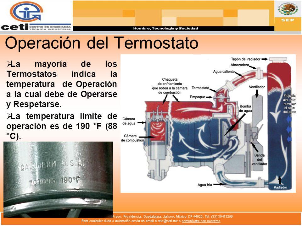 Operación del Termostato La mayoría de los Termostatos indica la temperatura de Operación a la cual debe de Operarse y Respetarse. La temperatura lími