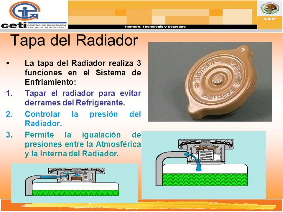 Tapa del Radiador La tapa del Radiador realiza 3 funciones en el Sistema de Enfriamiento: 1.Tapar el radiador para evitar derrames del Refrigerante. 2