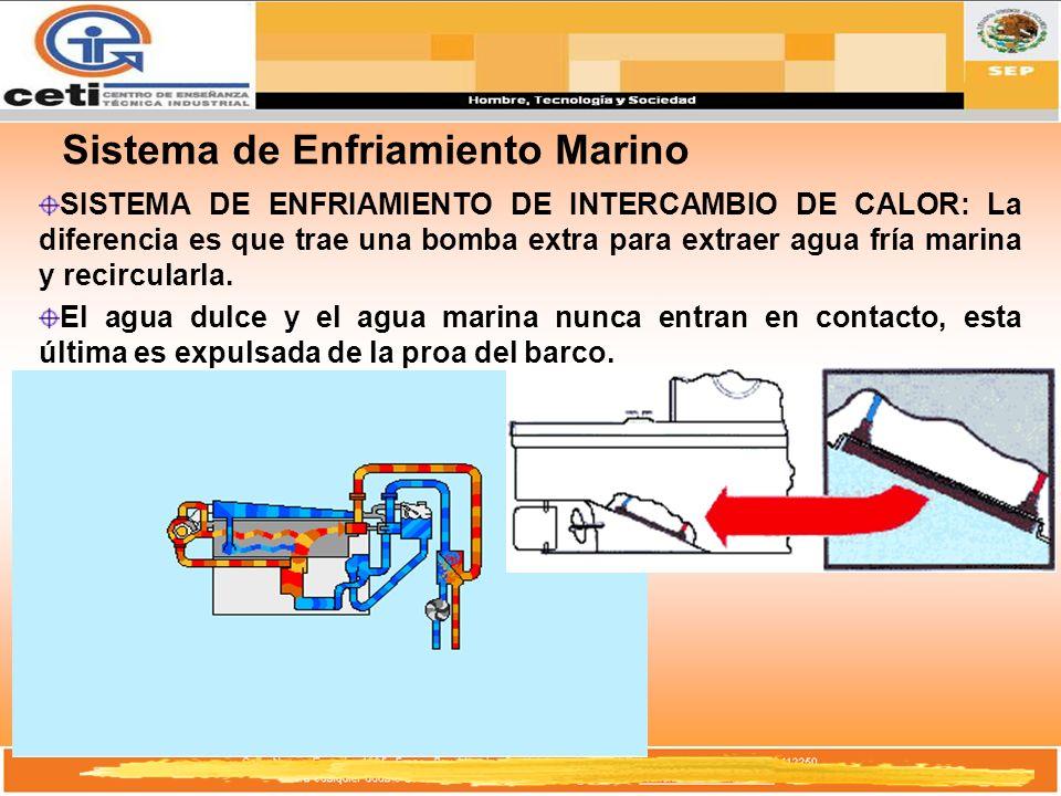 Sistema de Enfriamiento Marino SISTEMA DE ENFRIAMIENTO DE INTERCAMBIO DE CALOR: La diferencia es que trae una bomba extra para extraer agua fría marin