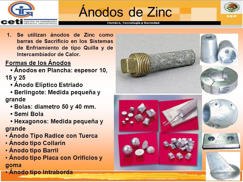 Ánodos de Zinc 1.Se utilizan ánodos de Zinc como barras de Sacrificio en los Sistemas de Enfriamiento de tipo Quilla y de Intercambiador de Calor. For