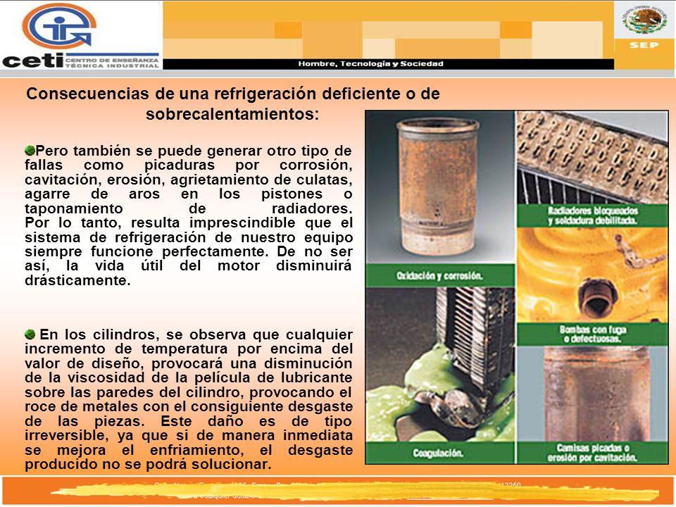 Consecuencias de una refrigeración deficiente o de sobrecalentamientos: Pero también se puede generar otro tipo de fallas como picaduras por corrosión