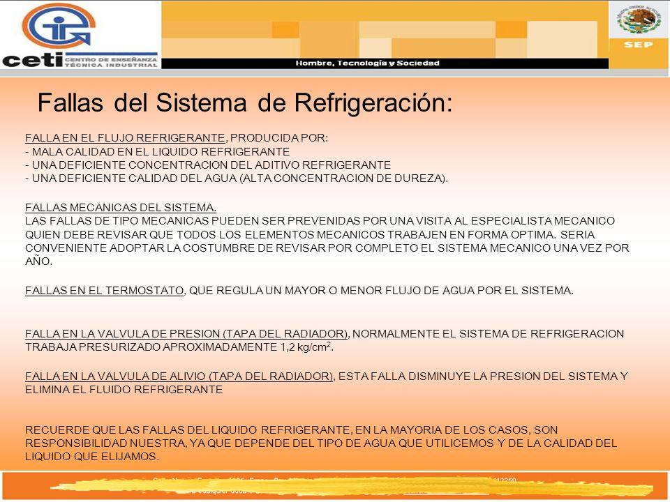 Fallas del Sistema de Refrigeración: FALLA EN EL FLUJO REFRIGERANTE, PRODUCIDA POR: - MALA CALIDAD EN EL LIQUIDO REFRIGERANTE - UNA DEFICIENTE CONCENT