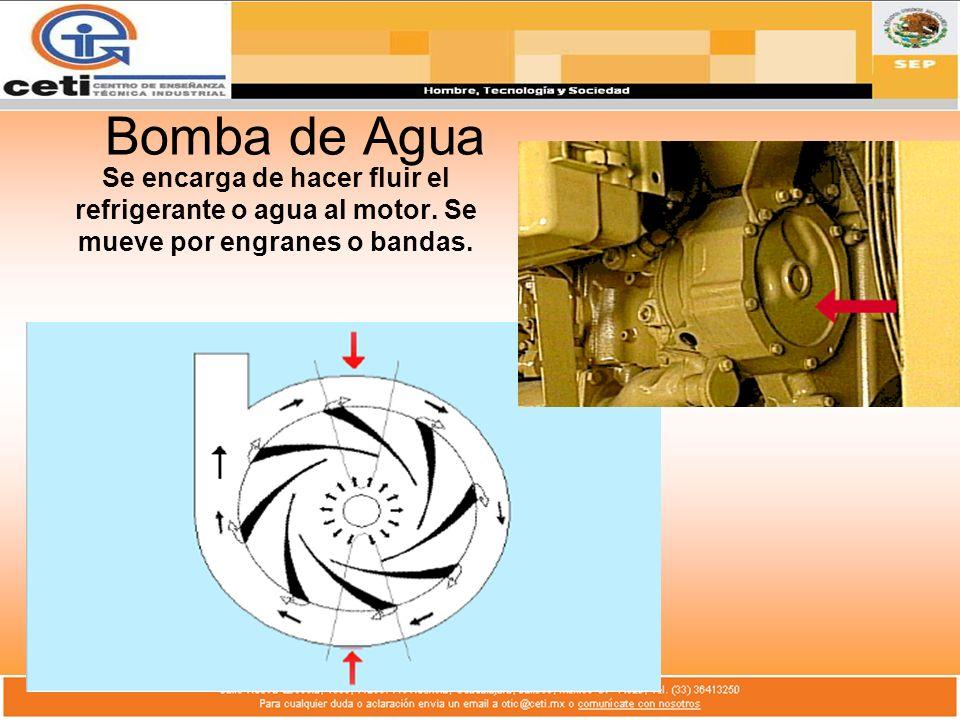 Bomba de Agua Se encarga de hacer fluir el refrigerante o agua al motor. Se mueve por engranes o bandas.
