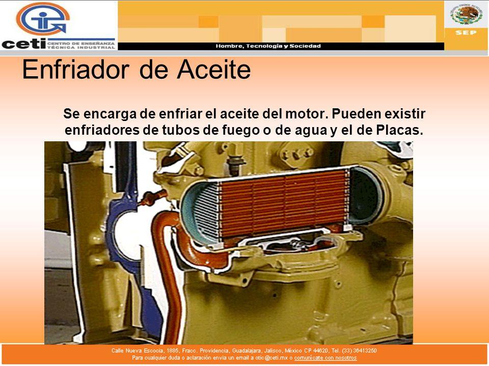Enfriador de Aceite Se encarga de enfriar el aceite del motor. Pueden existir enfriadores de tubos de fuego o de agua y el de Placas.