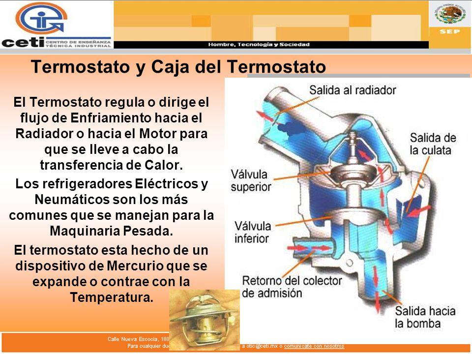 Termostato y Caja del Termostato El Termostato regula o dirige el flujo de Enfriamiento hacia el Radiador o hacia el Motor para que se lleve a cabo la