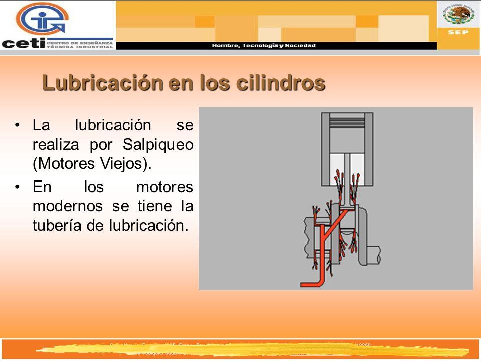 Lubricación en los cilindros La lubricación se realiza por Salpiqueo (Motores Viejos). En los motores modernos se tiene la tubería de lubricación.