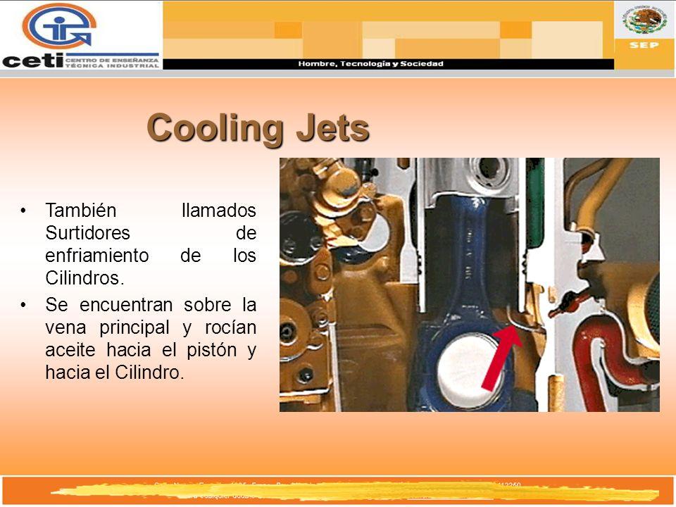 Cooling Jets También llamados Surtidores de enfriamiento de los Cilindros. Se encuentran sobre la vena principal y rocían aceite hacia el pistón y hac