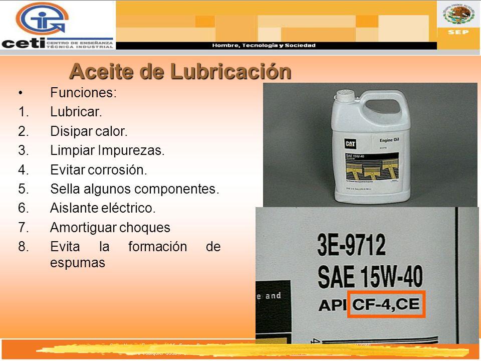 Aceite de Lubricación Funciones: 1.Lubricar. 2.Disipar calor. 3.Limpiar Impurezas. 4.Evitar corrosión. 5.Sella algunos componentes. 6.Aislante eléctri