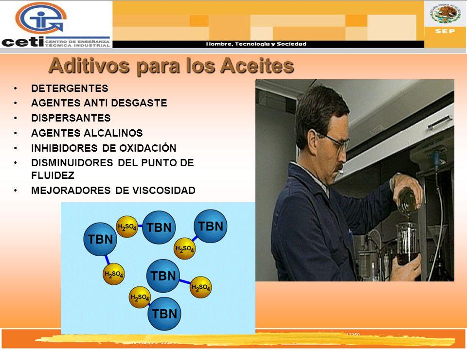 Aditivos para los Aceites DETERGENTES AGENTES ANTI DESGASTE DISPERSANTES AGENTES ALCALINOS INHIBIDORES DE OXIDACIÓN DISMINUIDORES DEL PUNTO DE FLUIDEZ
