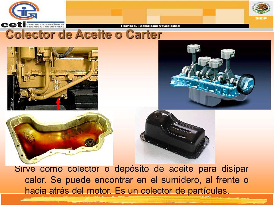 Colector de Aceite o Carter Sirve como colector o depósito de aceite para disipar calor. Se puede encontrar en el sumidero, al frente o hacia atrás de