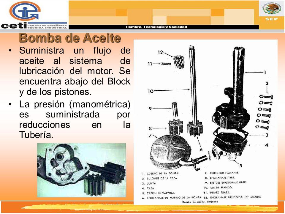 Bomba de Aceite Suministra un flujo de aceite al sistema de lubricación del motor. Se encuentra abajo del Block y de los pistones. La presión (manomét