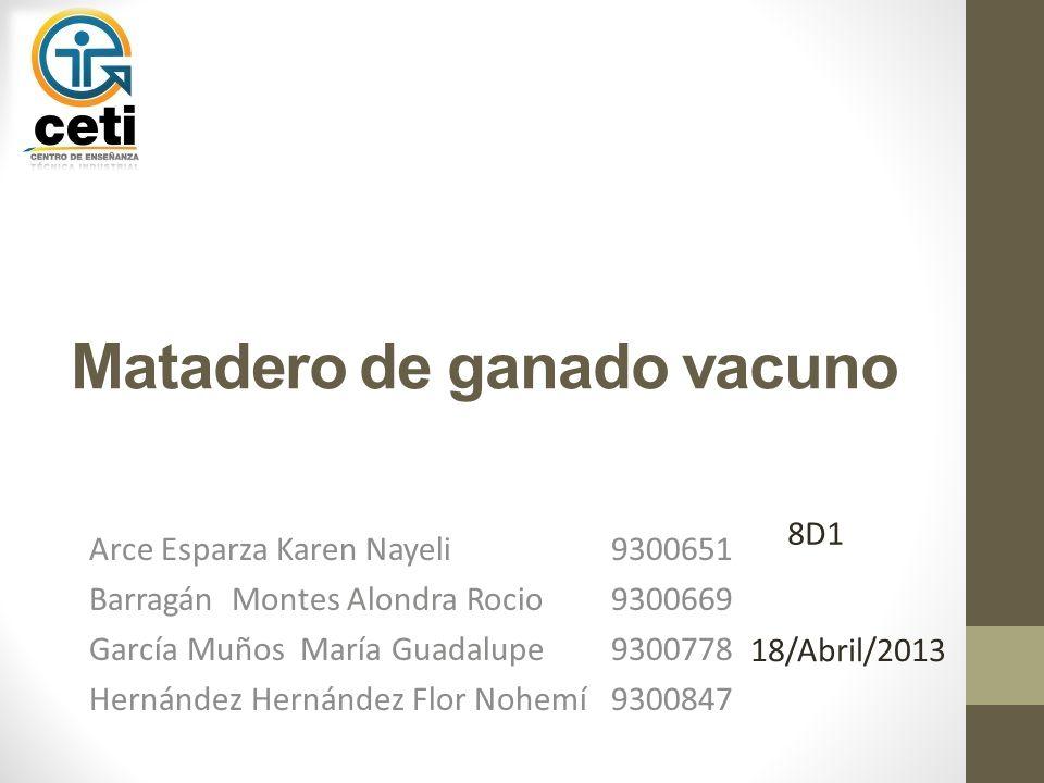 Matadero de ganado vacuno Arce Esparza Karen Nayeli9300651 Barragán Montes Alondra Rocio9300669 García Muños María Guadalupe9300778 Hernández Hernánde