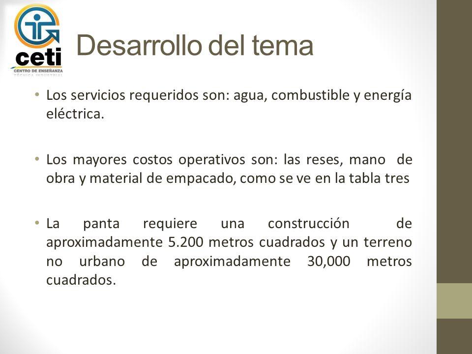 Los servicios requeridos son: agua, combustible y energía eléctrica. Los mayores costos operativos son: las reses, mano de obra y material de empacado