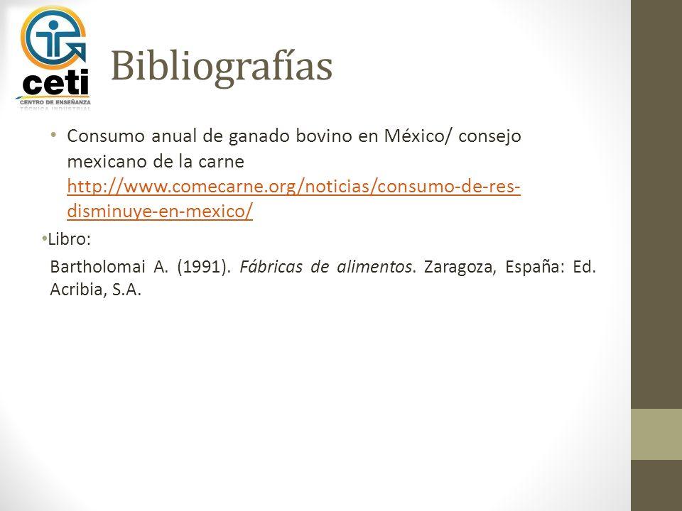 Bibliografías Consumo anual de ganado bovino en México/ consejo mexicano de la carne http://www.comecarne.org/noticias/consumo-de-res- disminuye-en-me