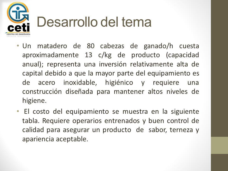 Desarrollo del tema Un matadero de 80 cabezas de ganado/h cuesta aproximadamente 13 c/kg de producto (capacidad anual); representa una inversión relat