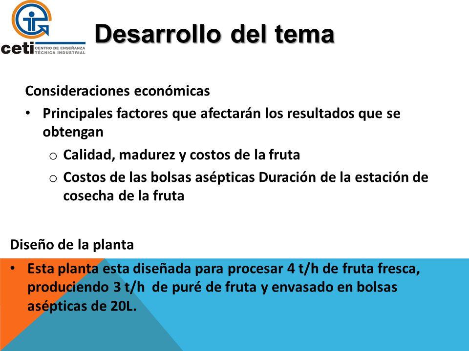 Desarrollo del tema Consideraciones económicas Principales factores que afectarán los resultados que se obtengan o Calidad, madurez y costos de la fru