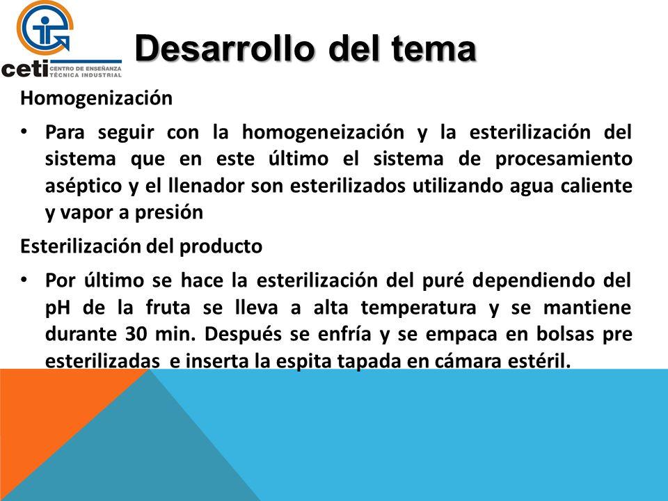 Desarrollo del tema Esterilización del puré El puré de mango, de pH 4.7, es entonces bombeado en el sistema, donde se calienta a 105°C y manteniendo a esta temperatura durante 3 minutos para alcanzar la esterilidad.