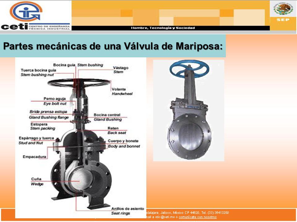 Partes mecánicas de una Válvula de Mariposa: