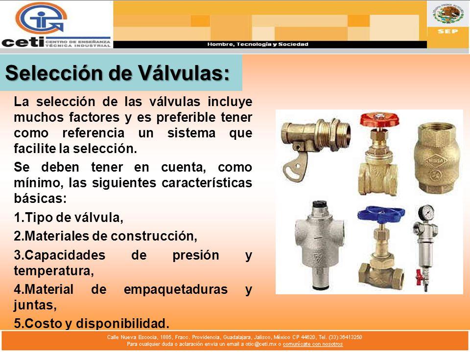 Selección de Válvulas: La selección de las válvulas incluye muchos factores y es preferible tener como referencia un sistema que facilite la selección