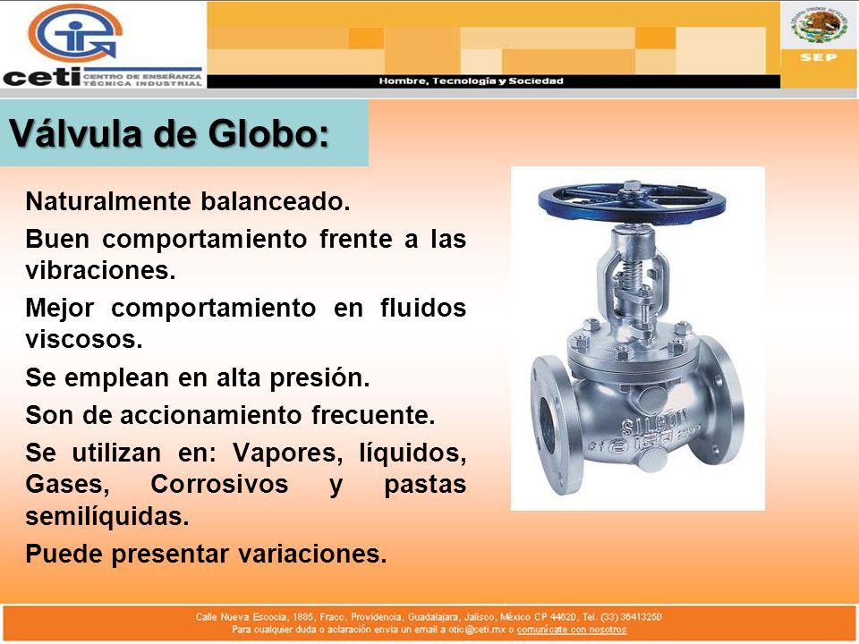 Válvula de Globo: Naturalmente balanceado. Buen comportamiento frente a las vibraciones. Mejor comportamiento en fluidos viscosos. Se emplean en alta