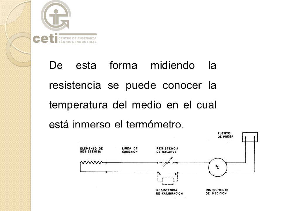 De esta forma midiendo la resistencia se puede conocer la temperatura del medio en el cual está inmerso el termómetro.