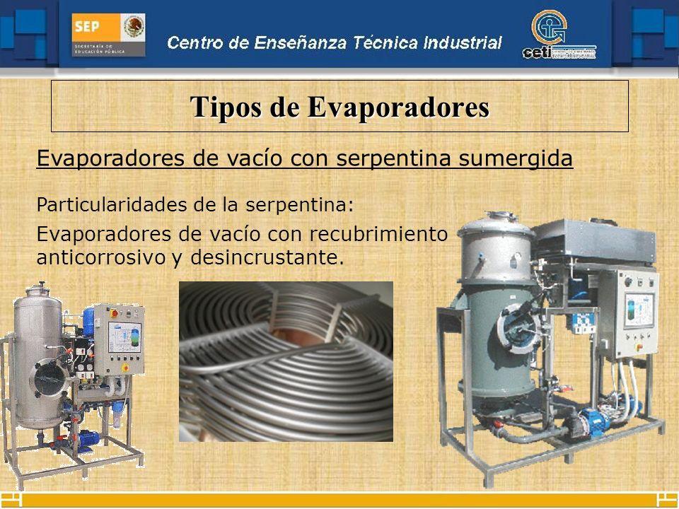 Tipos de Evaporadores Evaporadores de vacío con serpentina sumergida Particularidades de la serpentina: Evaporadores de vacío con recubrimiento antico