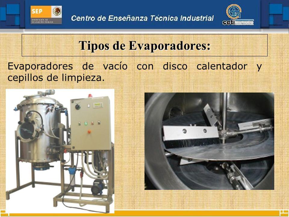 Tipos de Evaporadores: Evaporadores de vacío con disco calentador y cepillos de limpieza.