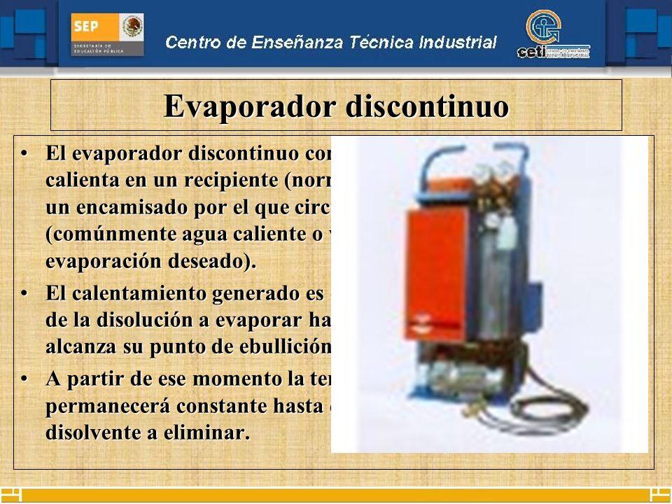 Evaporador discontinuo El evaporador discontinuo consiste en que un producto se calienta en un recipiente (normalmente esférico) rodeado por un encami