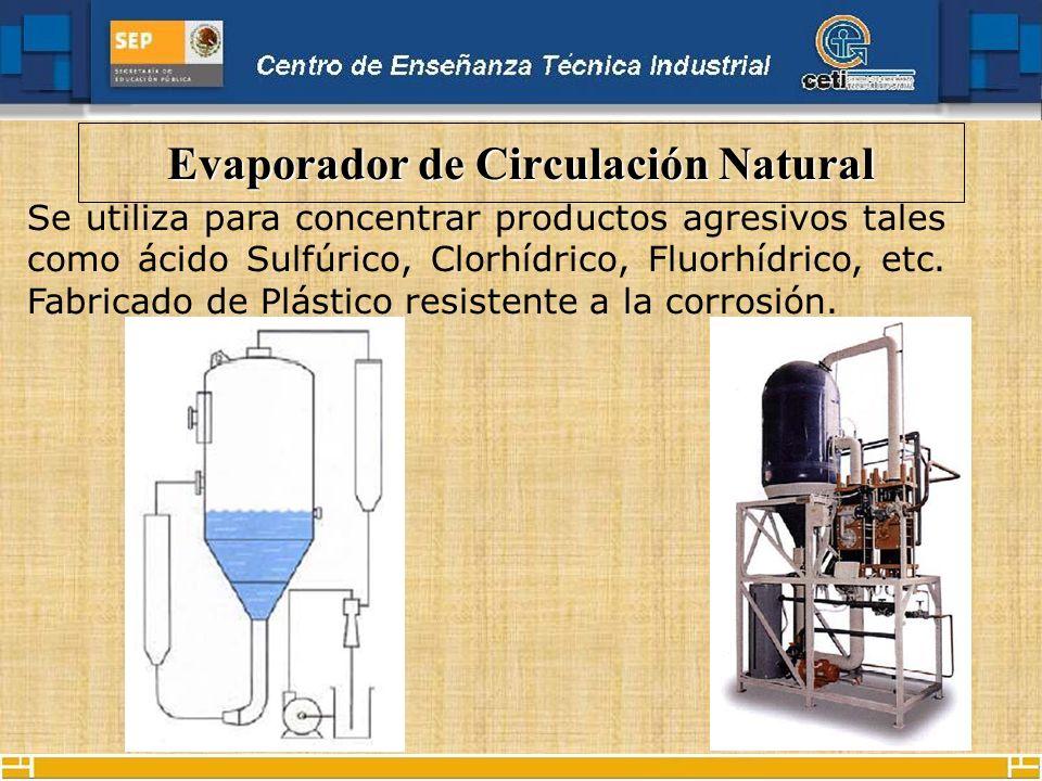 Evaporador de Circulación Natural Se utiliza para concentrar productos agresivos tales como ácido Sulfúrico, Clorhídrico, Fluorhídrico, etc. Fabricado