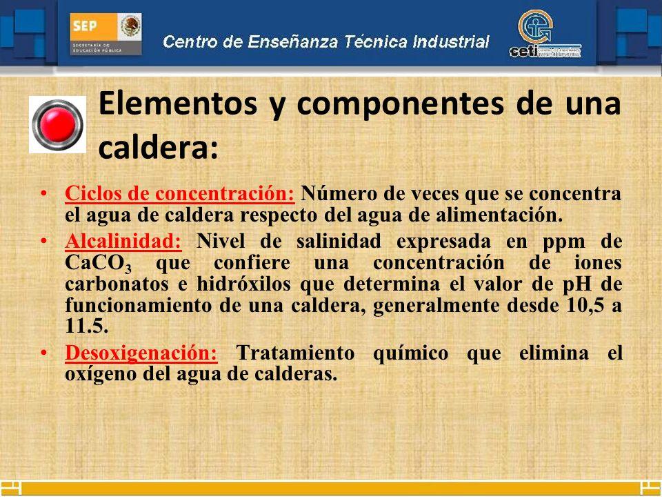 Elementos y componentes de una caldera: Ciclos de concentración: Número de veces que se concentra el agua de caldera respecto del agua de alimentación
