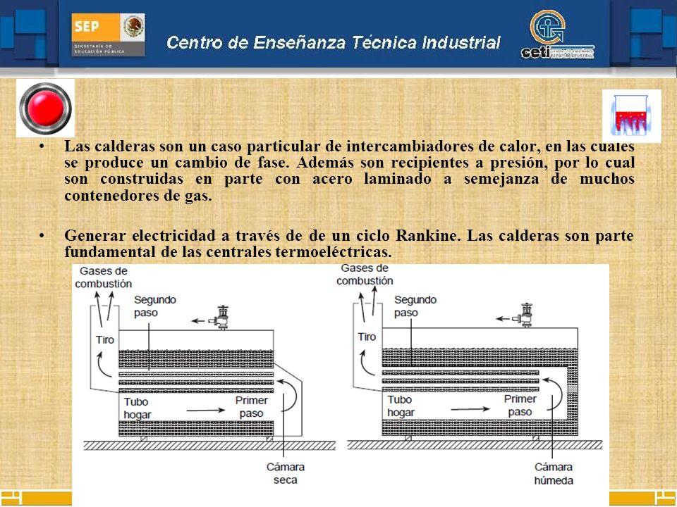 Las calderas son un caso particular de intercambiadores de calor, en las cuales se produce un cambio de fase. Además son recipientes a presión, por lo